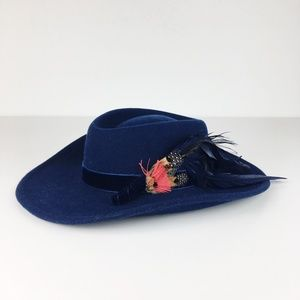 VTG Navy Blue Felted Wool Hat Feathers Chic Cowboy